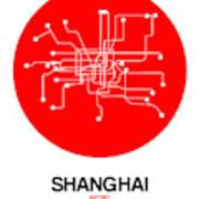 Shanghai Red Subway Map Art Print