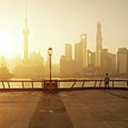 Shanghai Sunrise At Bund With Skyline Art Print