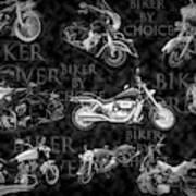 Shiny Bikes Galore In Black And White Art Print