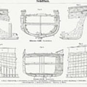 Shipbuilding Wooden And Iron Ship, Wood Art Print