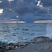 Shoreline Rain Clouds Art Print