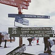 Signpost In St. Moritz Art Print