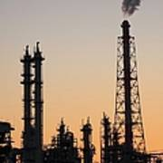 Silhouette Of Petrochemical Plant Art Print