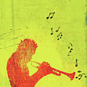Silhouette Of Trumpet Player Art Print