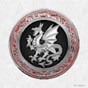Silver Winged Norse Dragon - Icelandic Viking Landvaettir On Black And Silver Medallion Over White L Art Print