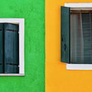 Sisters Windows, Burano, Italy Art Print