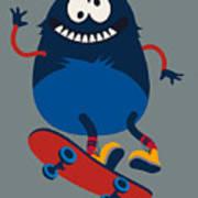 Skater Monster Victor Design For Kids Art Print