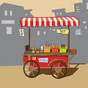 Sketch Of Street Food Carts, Cartoon Art Print
