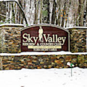 Sky Valley Georgia Welcome Sign In The Snow Art Print