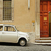 Small Coupe Parked Near A Doorway On A Art Print