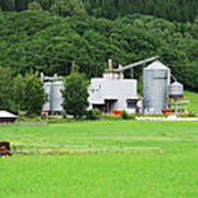 Small Factory Between Green Field And Art Print