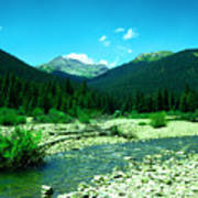 Small Stream Foreground The Rockies Art Print