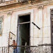 Smoker On Balcony In Cuba Art Print
