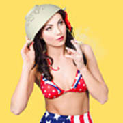Smoking Hot American Military Pin-up Girl Art Print