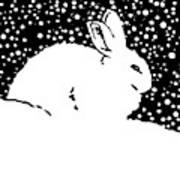 Snow Bunny Rabbit Holiday Winter Art Print