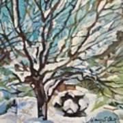 Snow Covered Cherry Tree Art Print
