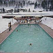 Snow Round The Pool Art Print