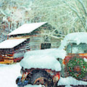 Softly Snowing On The Country Farm Art Print