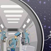 Space Mission Concept Vector Art Print