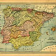 Spain & Portugal Vintage Map Art Print