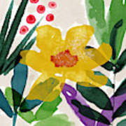 Spring Garden Yellow- Floral Art By Linda Woods Art Print