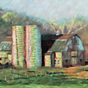 Spring On The Farm - Old Barn With Two Silos Art Print