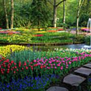 Springtime Keukenhof Gardens With Art Print