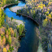 Springtime On The Manistee River Aerial Art Print