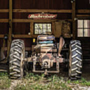 Square Format Old Tractor In The Barn Vermont Art Print