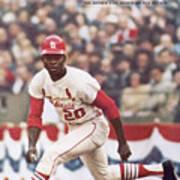 St. Louis Cardinals Lou Brock, 1967 World Series Sports Illustrated Cover Art Print