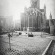 St Nicholas Church Ghent Belgium Black And White Art Print