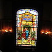 Stained Glass At Moody Mansion Art Print