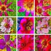 Stained Glass Pink Flower Collage  Art Print