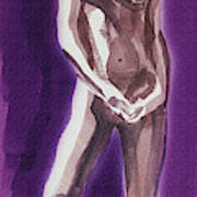 Standing Nude Model Gesture Xxxix Art Print