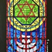 Star Of David Stained Glass Art Print