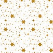 Star, Pattern, White, Background, Gold Art Print