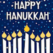 Starry Night Hanukkah Menorah- Art By Linda Woods Art Print