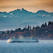 State Ferry And The Olympics Art Print