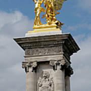 Statue, Alexandre 3 Bridge In Paris Art Print