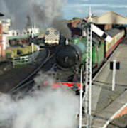 Steam Train Leaving Station Art Print