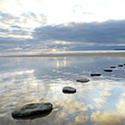 Stepping Stones Over Water With Sky Art Print