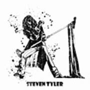 Steven Tyler Microphone Aerosmith Black And White Watercolor 02 Art Print