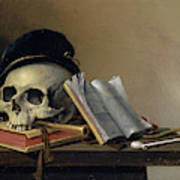 Still Life With Skull, Books, Flute And Pipe Art Print