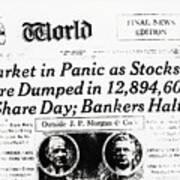 Stock Market Crash On World Headline Art Print