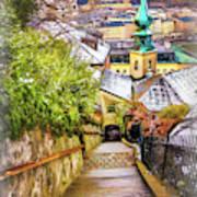 Stone Steps Of Kapuzinerberg Salzburg In Winter Art Print