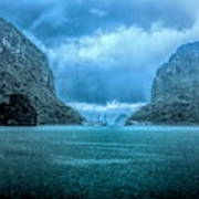 Storm Clouds Invade Ha Long Bay Blue Rain  Art Print