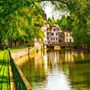 Strasbourg, Water Canal In Petite Art Print