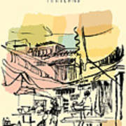 Street Restaurant In China Town In Art Print