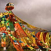 Stupa, Buddhist Altar In Tibet, Flags Art Print