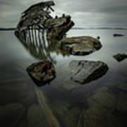 Sturgeon Bay Shipwreck In November Gloom Art Print